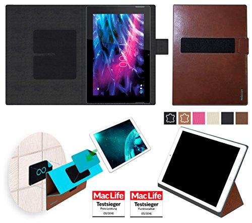 Hülle für Medion Lifetab S10366 Tasche Cover Case Bumper | in Braun Leder | Testsieger