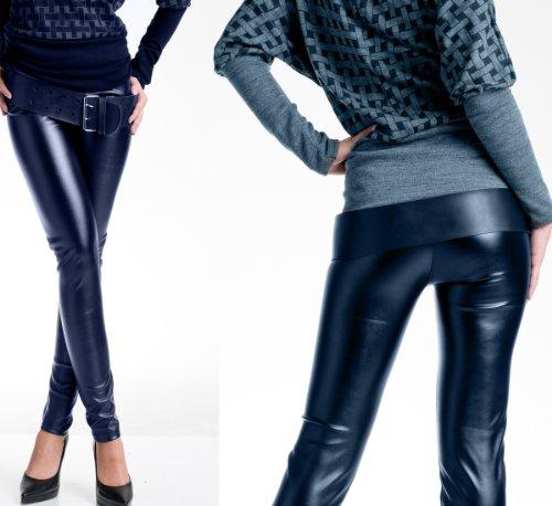 Sexy Damen Leggings Metallic Glanzleggings Wettlook in 3 Farben S/M + M/L (L/XL  38/40, Blue)