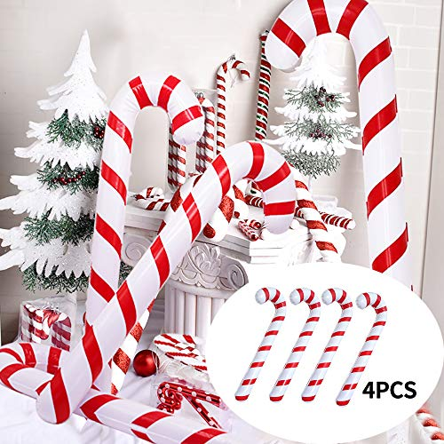 Homo Trends 4Pcs 90CM/35.4 Inch Inflatable Candy Canes Novelty Giant Candy Cane Stick Inflatable for Christmas Decoration
