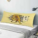 Funda de almohada para el cuerpo tigre japonés vintage tatuajes animal fauna asiático cabeza de animal pantera asiática pintura japón Funda de almohada larga de 50 cm x 135 cm, suave y acogedora