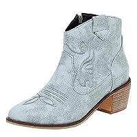 [EveKitty] アンクルブーツ 太ヒール ウェスタンブーツ レディース ショート 美脚 ブーツ ファスナー 40AS Gray
