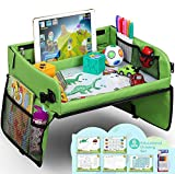 lenbest Travel Tray, Indoor & Outdoor Learning Educational Toys Play Tray Lap Desk with Dry Erase - 6 Pens & 5 Drawing Papers - Multifunctional Activity Creative Games Toy Tray for Boys Girls