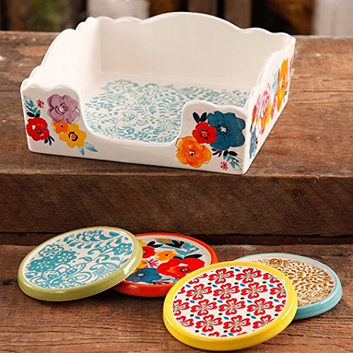 The Pioneer Woman Flea Market Stoneware Lush Floral Coasters And Napkin Box Set (1)