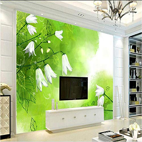 Lovemq Fototapete Individuelles Fototapete 3D Weiße Maiglöckchen Tapete Für Wände 3D Kunst Grün Frische Wandverkleidung Wohnzimmer Wohnkultur Tv Wand-130X100Cm
