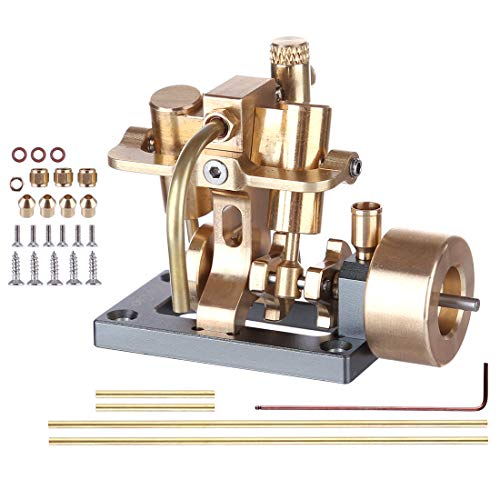 PeleusTech Steam Engine Model Mini Inline Double Cylinder Engine for Model Within 40cm Retro Boat Models (Without Boiler)