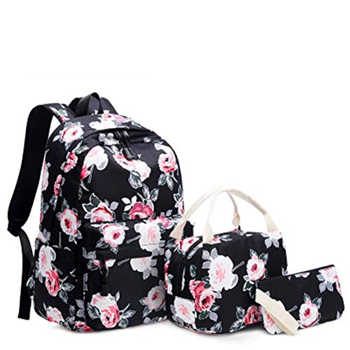 Travel Laptop Backpack Black Peony Three-Piece handbagFits Laptop15*29 * 42cm