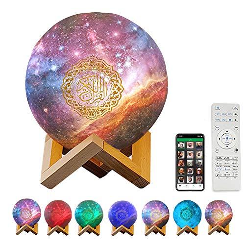 Qur'an Mond Lampe 3D Mondlicht Nachtlicht Smart Touch LED Lampe Bluetooth Lautsprecher Speaker 7 Farben Nachtlampe Farbwechsel Nachttischlampe Tischlampe (A)