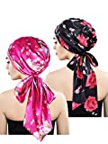 Blulu 2 Pieces Soft Satin Head Scarf Sleeping Cap Bonnet Headwear Head Cover Turbans for Women (Set 2)