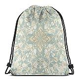 Yuanmeiju Soft <span class='highlight'>Sage</span> Cream Hand Drawn Floral Pattern Shoulder Drawstring Bag Backpack String Bags School Rucksack Gym Sport Bag Lightweight