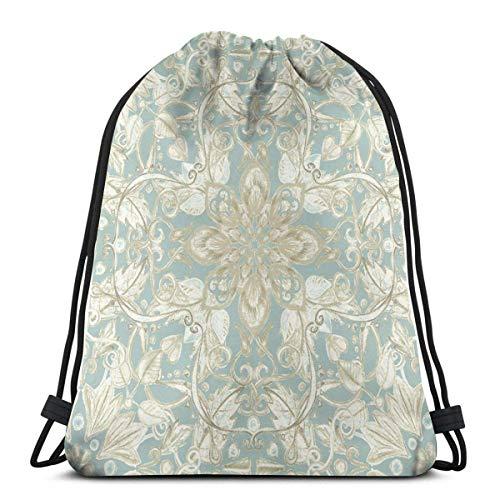 Yuanmeiju Soft Sage Cream Hand Drawn Floral Pattern Shoulder Bolsa con cordón Backpack String Bags School Rucksack Gym Sport Bag Lightweight