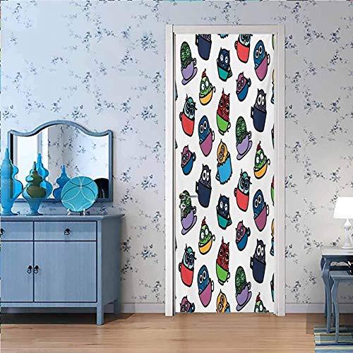 LucaSng Cartel de la Puerta 3D Etiqueta Mural Pegatinas Color Moda Lindo Mascota - 90x210 cm Puerta Etiqueta De La Pared Sala De Estar Cocina PVC Autoadhesiva Etiqueta A Prueba De Agua En Las