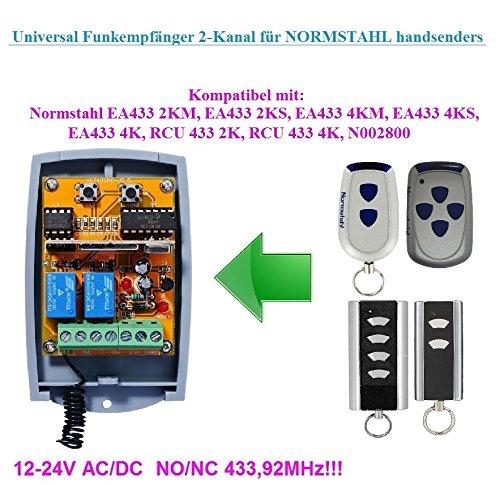 Preisvergleich Produktbild Normstahl kompatibel Funkempfängermodul im Gehäuse,  2-kanal universal Empfänger für Normstahl EA433 2KM,  EA433 4KM,  RCU433 2K,  RCU433 4K handsender. 12-24V AC / DC