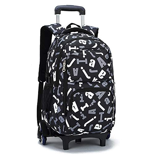 ZZLHHD Detachable Trolley Backpack,Can be disassembled, large-capacity trolley case-black_Two rounds,Childrens Rolling Backpack