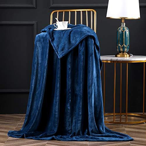 Bertte Fleece Throw Blanket Super Soft Cozy Warm Lightweight Throw for Sofa Couch Luxury Decorative Velvet Pattern Bed Blanket - 50'x 60', Navy