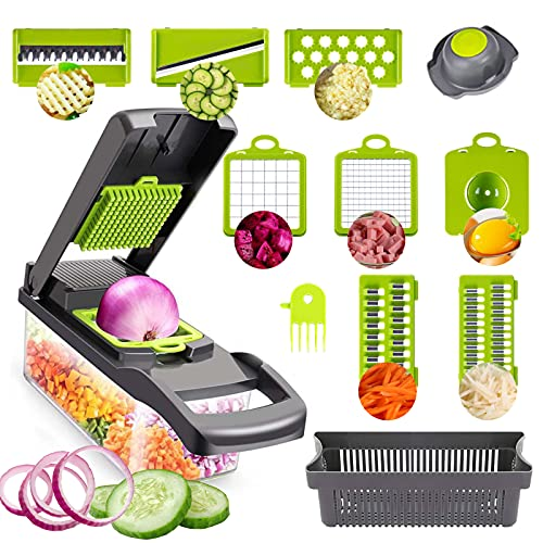 Ronly Vegetable Chopper,Pro 12 in 1 professional food Chopper multifunctional Vegetable Chopper and Slicer,Onion Chopper Dicer,Cheese & Veggie Chopper,Food Chopper Salad Chopper Vegetable Cutter