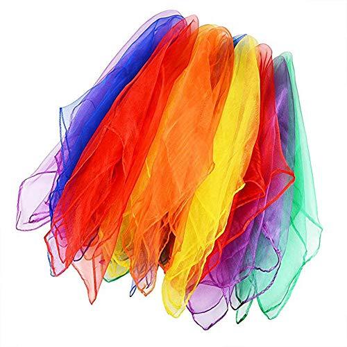 AIUIN 12 Pcs Tanz und Jongliertücher Gymnastiktücher Tanztücher Chiffon 6 Farben