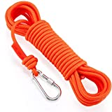 NIECOR Static Climbing Rope,Magnet Fishing Rope with Carabiner,8mm High Strength Cord Safety Rope 32ft,64ft,98ft