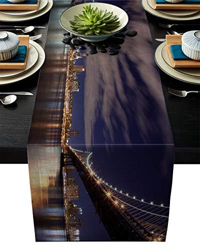 Pag Crane Camino de Mesa de Tela Duradera, Hermoso Paisaje de New York Bridge, Caminos de Mesa Lavables para el hogar/Cocina/Mesa de Comedor