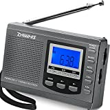 ZHIWHIS Portable Radio, AM FM Shortwave Radios with Best Reception, Battery Operated Clock Radio with Preset Function, Alarm Clock Digital Tuner with Sleep Timer