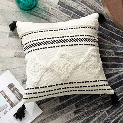 Sungea - Fundas de almohada tejidas con borlas tejidas, 45,7 x 45,7 cm, color blanco y negro, diseño moderno tribal bohemio decorativo, fundas de cojín para recámara, sala de estar, sofá, coche