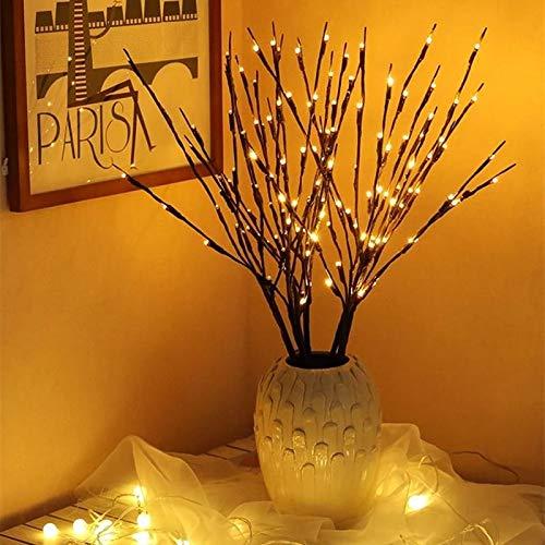 Udefineit 5 unidades de 100 bombillas LED de color blanco cálido, luces de rama, funciona con pilas, ramas de árbol iluminadas artificiales, luces LED brillantes para decoración de fiestas de Navidad