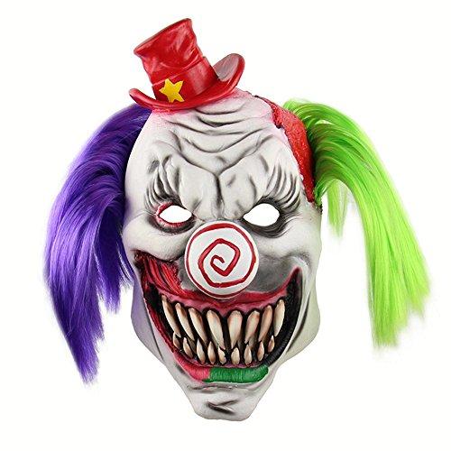 ZXCMNB Máscara De Halloween, Horror Red Hat Clown Hood Live Mask