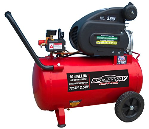 Speedway 52956 Air compressor with Pneumatic Tires, 10 gallon