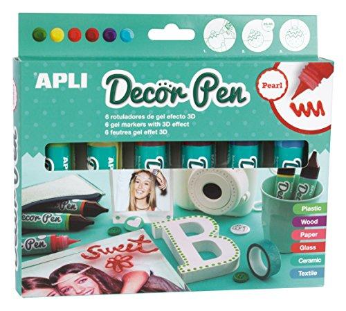 APLI - Caja rotuladores 3D Decorpen, acabado brillante, 6 ud