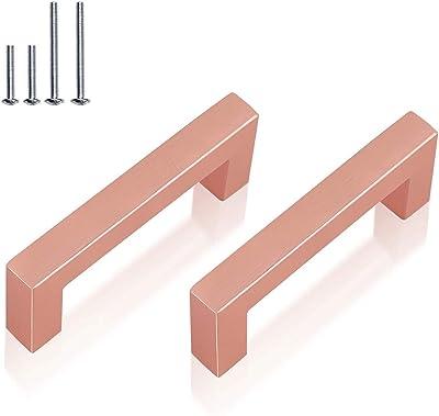 10Pack 3' Square Drawer Pulls Brushed Rose Gold Cabinet Handle,Stainless Steel Kitchen Dresser Pull Furniture Hardware,Diameter 12mm(1/2'')