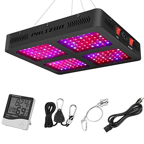 Phlizon Doppelschalter Serie 2200W LED Pflanzenlampe Vollspektrum LED Grow Light Grow Lampe für Zimmerpflanzen mit Einstellbarem Seil Thermometer Keine Batterie- 2200W(220pcs 10W LEDs)