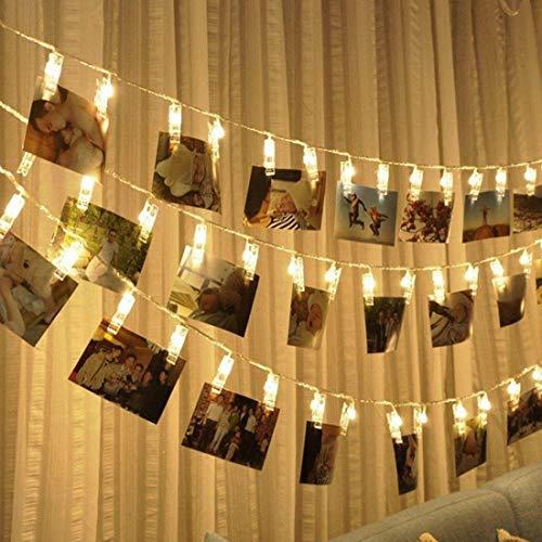 Yangeryang Luces Decorativas, 10 m Photo Clip LED Luz de Cadena de Hadas, 80 LED Cadenas Lámpara Luz Decorativa para el hogar, Café, Tienda, Centro Comercial (Color : Color2)