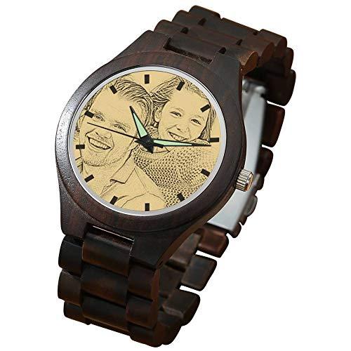 SOUFEEL Herren Holzuhr Personalisierte Armbanduhr mit Foto und Gravur Analog Japanisches Quarzwerk mit Holzarmband African Blackwood Durchmesser 45mm