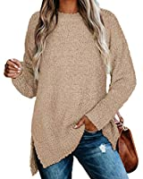 Oversized Sweaters for Women Tunics for Leggings Stretchy Tops Khaki L