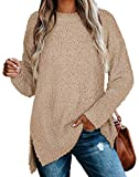 Tunic Sweaters for Women Oversized Long Sleeve Comfy Tops for Leggings Khaki M