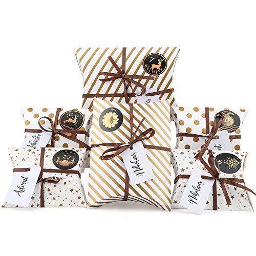 Aitsite Adventskalender zum Befüllen, 24 Gold Adventskalender Kraftpapier Tüten mit 24 Zahlenaufklebern - für Weihnachten zum Basteln und Verzieren, Weihnachts-Geschenktüte zum DIY und Befüllen
