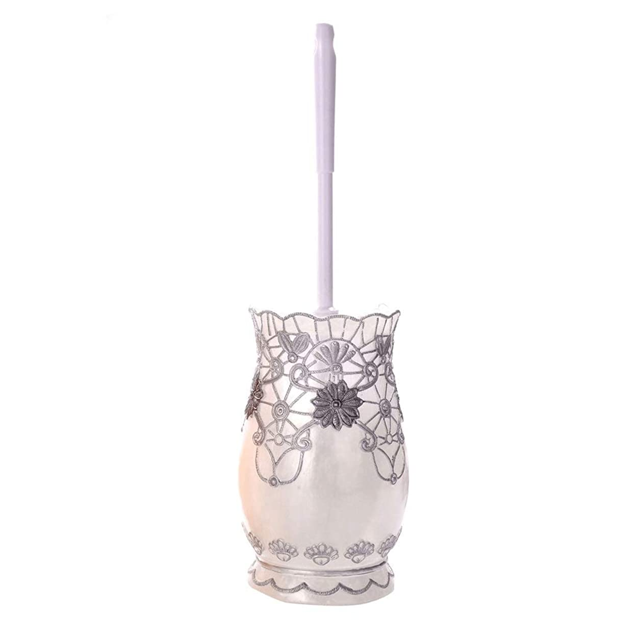 晴れ関係するしっとりトイレブラシ 浴室のための縁の唇のブラシそして貯蔵の容器の下で置かれる花柄のクリーニングブラシ 水はね防止 トイレ掃除用品 (Color : Silver, Size : 10*38CM)