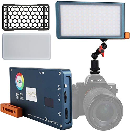 Falconeyes Pockelite F7 RGB Led Luz de relleno de bolsillo, CRI: 97, 2500K-9000K ajustable, 0-100% atenuación continua, pantalla OLED, modo de escenario múltiple, batería incorporada de 7.4V / 3000mAh