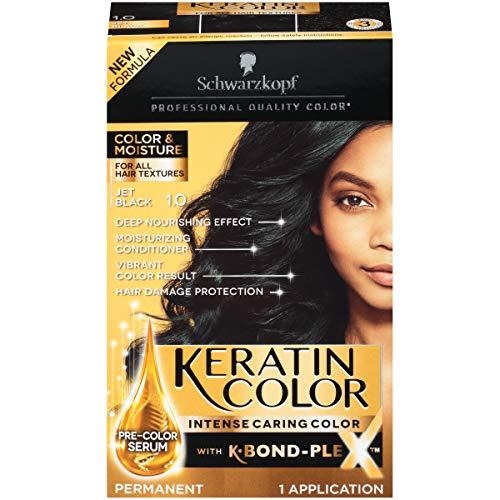 Schwarzkopf Keratin Color, Color & Moisture Permanent Hair Color Cream, 1.0 Jet Black (Pack of 1)