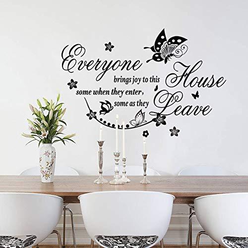 HFWYF Todo el Mundo inglés Flor de Mimbre Mariposa Sala de Estar Dormitorio Etiqueta de la Pared al por Mayor Impermeable extraíble 44x67 cm