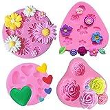 5 Pezzi Fondente Torta Stampi del Fiore Muffa del Fiore delle Rose margherita Amore Stampi Stampo in Silicone per Fiore Rosa Per cioccolato gelatina zucchero budino torta Decorazione