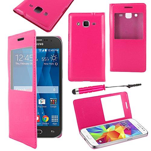 ebestStar - Cover Compatibile con Samsung Galaxy Core Prime SM-G360F, 4G SM-G361F VE Custodia Portafoglio Protezione Flip Finestra View +Mini Penna, Rosa [Apparecchio: 130.8x67.9x8.8mm, 4.5'']