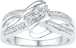 FB Jewels Sterling Silver Womens Round Diamond 3-stone Bridal Wedding Engagement Ring .03 Cttw Size 7