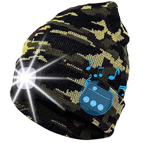 Bluetooth Beanie Mütze mit LED-Licht Unisex Wireless Stereo Musik Kopfhörer Beanie Strickmütze USB Wiederaufladbare Stirnlampe Kappe für Männer Frauen Teenager Gr. One size, Camouflage Army Grün