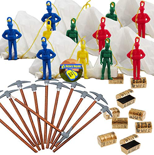 Battle Gamer Party Favors for 12 - Pickaxe Pencils (12), Mini Treasure Chest (12), Paratrooper Toys with Parachutes (12) and Game Winner Party Sticker (Total 37 Pieces)