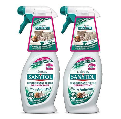Sanytol - Lote de 2 ambientador y desinfectante de olor de animales en textiles
