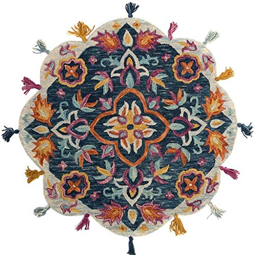 Tondo Tappeti Area Creativa retrò in lana di vento etnica addensare con frange Carpet Mat for la camera da letto Living Room Divano girevole Cuscino d'arredo dischi pulitori di yoga stuoia strisciante