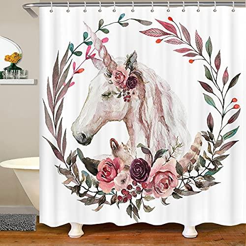 Cortina de baño con diseño de unicornio de acuarela impermeable con ganchos rosa guirnalda pintura cortina de ducha para puestos bañeras cuarto de baño, 72 x 84 pulgadas