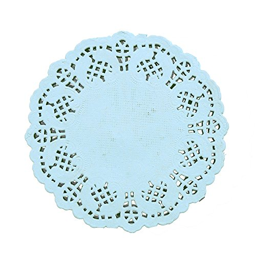 DECORA 3.5inch Round Blue Paper Lace Doilies Wedding Tableware Decoration,Pack of 100