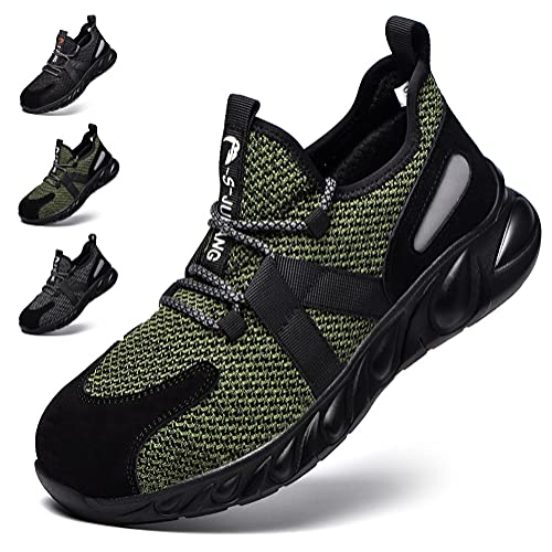 Zapatos de Seguridad Hombre Zapatos de Trabajo con Punta de Acero Hombre Mujer Ligeras Antideslizante Calzado de Industrial y Deportiva Unisex-Adulto Reflexivo Botas de Segurida Verde EU 44