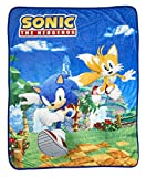 Sonic The Hedgehog Sonic & Tails Large Fleece Throw Blanket   Official Sonic The Hedgehog Collectible Blanket   Measures 60 x 45 Inches